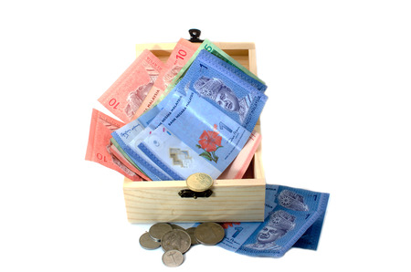 splurge: Malaysia currency on white background Stock Photo
