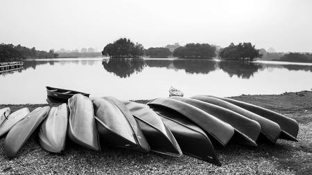 black white kayak: kayak on the lake in black and white Stock Photo