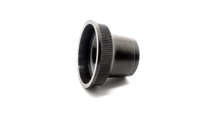 orifice: Black light bulb socket isolated on white background