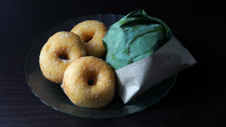 lemak: Nasi lemak and donat traditional malaysian and donuts spicy rice dish