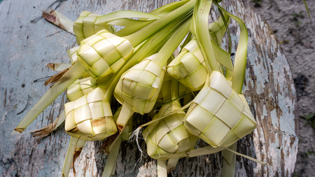 Ketupat or rice dumpling is a local delicacy during the festive season. Ketupat, a natural rice casing made from young coconut leaves for cooking rice