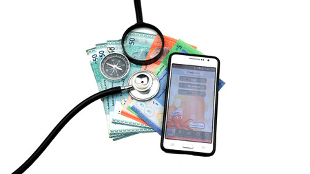 Kuantan Pahang Malaysia 12 July 2016. CIMB Bank Application On Smart Phone, business concept, health services and health advice online with cash malaysia, Editorial