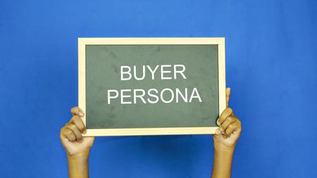 単語「バイヤー ペルソナ」をビジネス コンセプト ブラック ボード