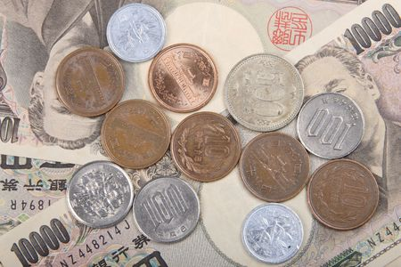 japanese yen: Japanese Yen and coins Stock Photo