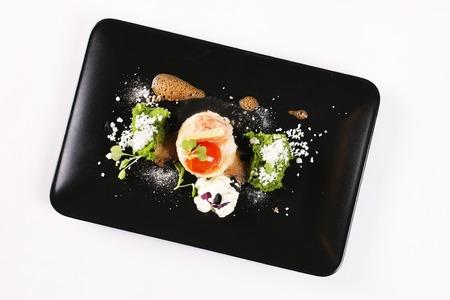 avantgarde: Molecular gastronomy, experimental, avant-garde, provocative kitchen or culinary physics. Stock image. Stock Photo