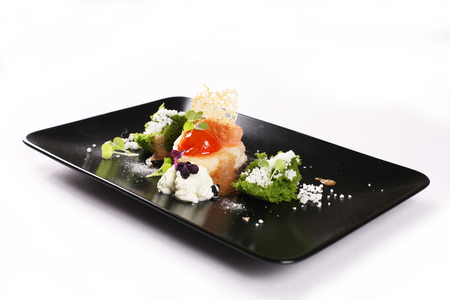 experimental: Molecular gastronomy, experimental, avant-garde, provocative kitchen or culinary physics. Stock image. Stock Photo