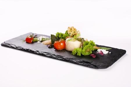 Molecular gastronomy, experimental, avant-garde, provocative kitchen or culinary physics. Stock image. Stock Photo