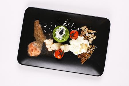 Molecular gastronomy, experimental, avant-garde, provocative kitchen or culinary physics. Stock image. Zdjęcie Seryjne