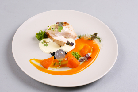 modern molecular cuisine. chicken breast cooked in a vacuum-packed. stock image.