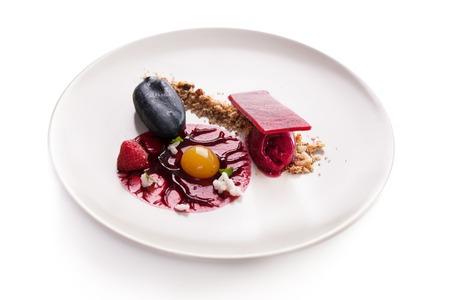 elegant dessert molecular cuisine on a white background. Zdjęcie Seryjne