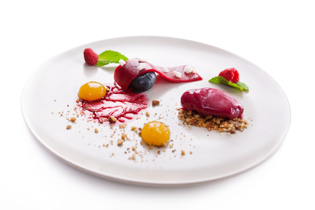 elegant dessert molecular cuisine on a white background. 版權商用圖片