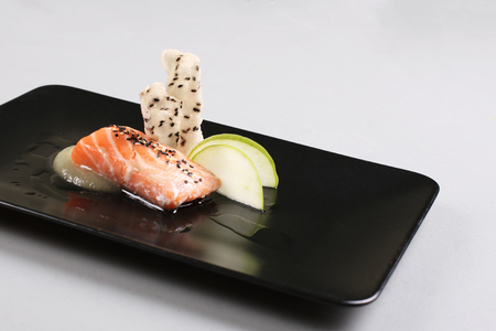 Smoked salmon and sauce cooked by molecular gastronomy technic