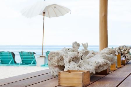 Beach cafe bar near the blue ocean. Stock image.