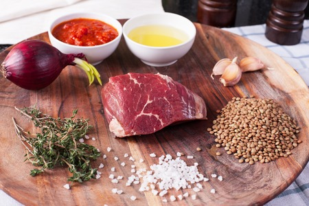 lentils and meats with tomato sauce. Stock image.