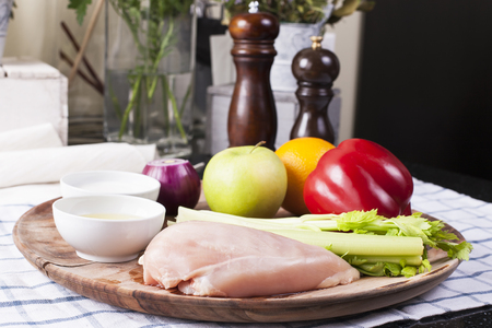 Chicken salad with fruits and vegetables. Stock images. Foto de archivo