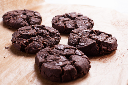Close up of chocolate cookies. Stock image. Stok Fotoğraf