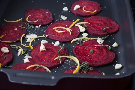 Baked beet slices. Healthy chips out of beets. Stock image