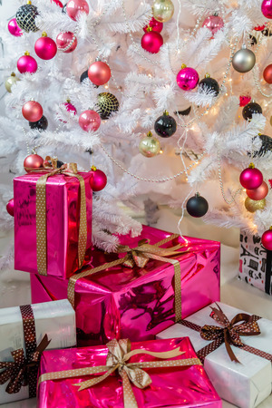 tinsel: well-dressed Christmas tree Stock Photo