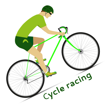 cycle race: Cyclist in action. Cycle racing. Bicycle race. Vector illustration.