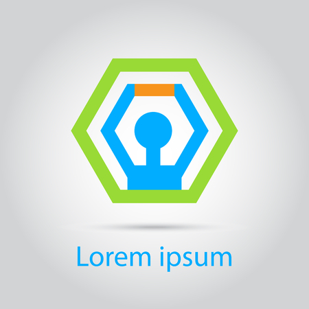 looped shape: Hexagon abstract template icon, silhouette inside. Vector illustration. Editable.