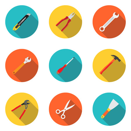 putty knife: Trendy flat working tools icons. Stationery knife, pliers, screwdriver, wrench, adjustable wrench, hammer, scissors, trowel. Vector illustration Illustration