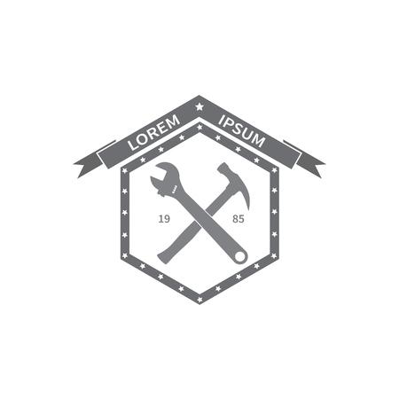 tooling: Logo repair workshop. Emblem company. Tools  adjustable wrench,  hammer. Vector illustration.
