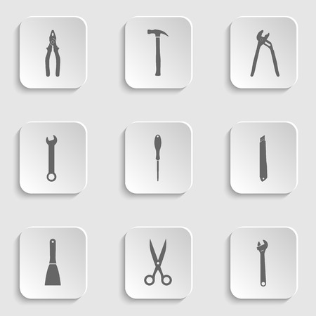 nipper: Collection of simple black icons of hand tools. Pliers, hammer, screwdriver, spanner, trowel, wrench, cutter, scissor, pincers, screw driver, knife, nipper. Vector illustration