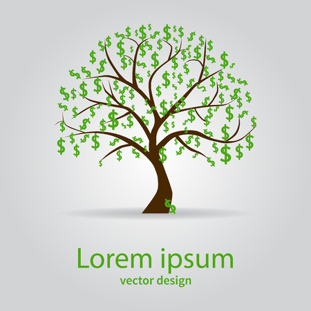 tree silhouettes: Money tree isolated on white background. Symbol, dollar, business. Vector illustration.