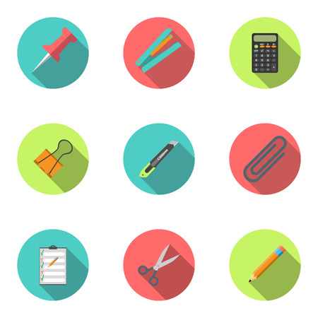 stationery set: Modern flat icon vector illustration collection with long shadow. Stapler, scissors, clip, stationery knife, notebook, calculator, pencil, button, stationery set Symbol and object. Isolated on white background.