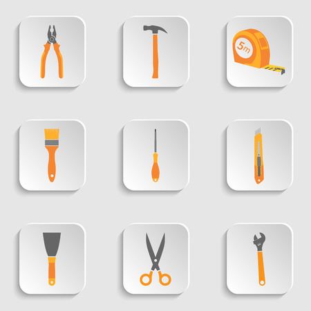 putty knife: Collection of simple icons of hand tools.