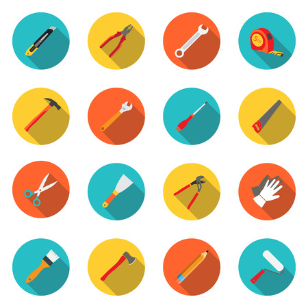 Set icons hand tools flat style
