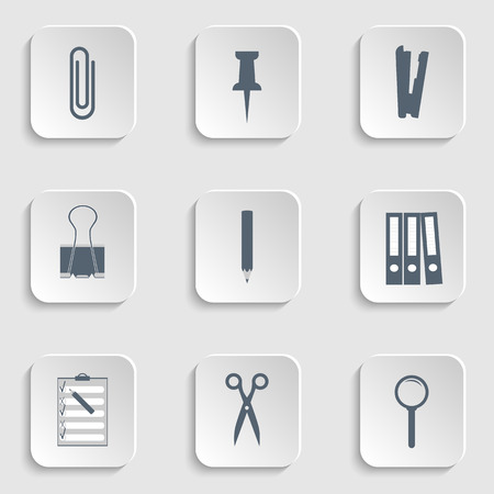 lupa: flat icon vector illustration collection: Paper clips, Stapler, push pin, Binder clip, Pensil, Scissors, magnify icon, loupe, lupa, Clipboard, Binders