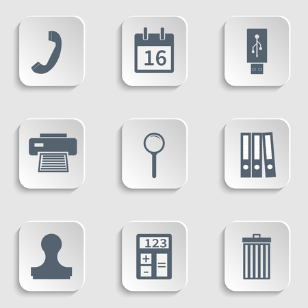 lupa: Modern flat icon stationery set, calendar page, usb flash drive, handset  phone, printer icon, fax, magnify icon, loupe, lupa, binders, stamp, clipboard, trash can icon, trash bin, calculator