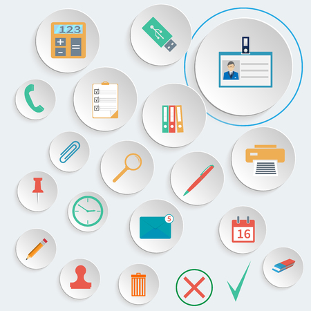 lupa: Office supplies icons set. Stationery office tools. Vector illustration flat style