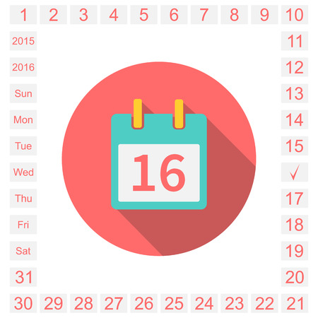 calendar page: Calendar  icon,  event icon,  calendar page. easily editable. all dates of the month and days of the week. 2015, 2016. Vector illustration