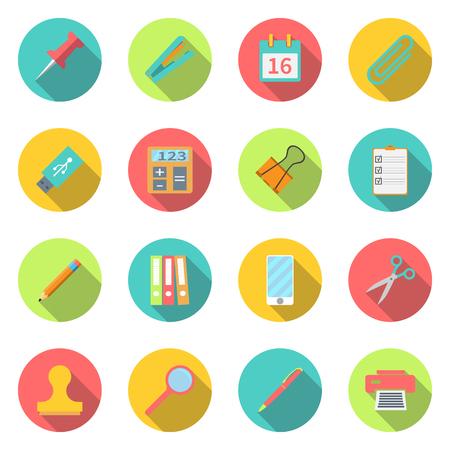 utiles escolares: equipos de oficina colección. establecer los iconos de colores con sombra larga. Conjunto de papelería símbolo y objeto. Diseño plano moderno, para aplicaciones web y móviles, del trabajo de oficina. fondo blanco aislado