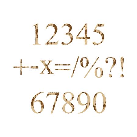 multiplicar: n�meros de grunge 0-9 y los s�mbolos m�s, menos, multiplicar, como fracciones, porcentajes, signo de interrogaci�n, signo de exclamaci�n. Ilustraci�n vectorial Vectores