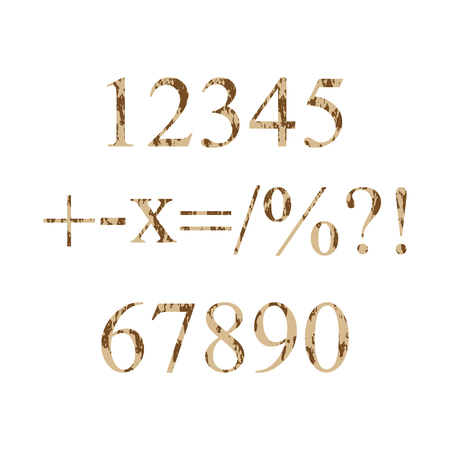 multiply: numbers grunge 0-9 and symbols plus, minus, multiply, like fractions, percentages, question mark, exclamation mark. Vector illustration Illustration