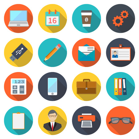 Modern flat icons, elements business, office equipment, office work, marketing. colored vector illustration with shadow on a white background Illustration