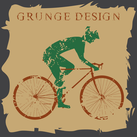 cyclist silhouette: Cyclist silhouette isolated. Grunge style