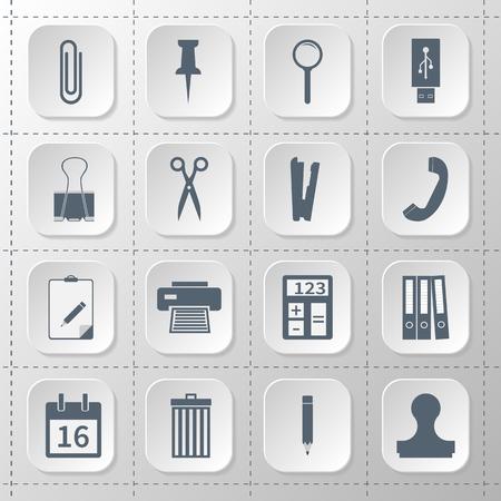 Establecer iconos planos. suministros de oficina, útiles escolares. Icono aislado gris sobre fondo blanco. Ilustración vectorial Foto de archivo - 47522659