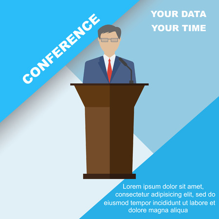 minister: Conference template, vector illustration with space for your texts. Public speaker business conference. Flat style, modern design.