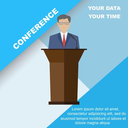 oratory: Conferencia plantilla, ilustración vectorial con espacio para sus textos. conferencia de negocios orador público. estilo plano, diseño moderno. Vectores