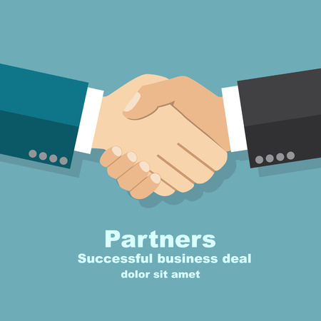 welcome business: handshake businessman agreement. Vector illustration flat style. shaking hands. symbol of a successful transaction