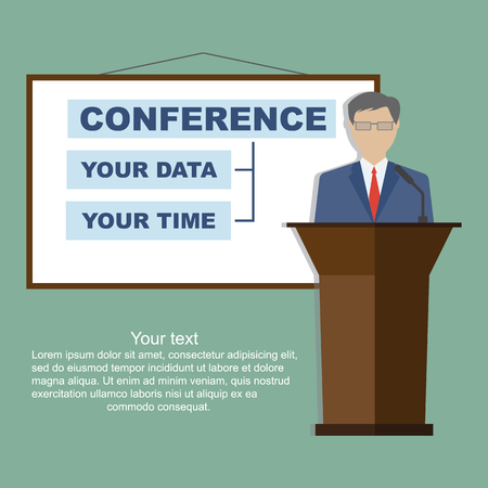 congress: Conference template, vector illustration with space for your texts. Public speaker business conference. Flat style, modern design.