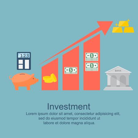 rentable: Successful, profitable investment. Flat style, modern design.  Vector  illustration.