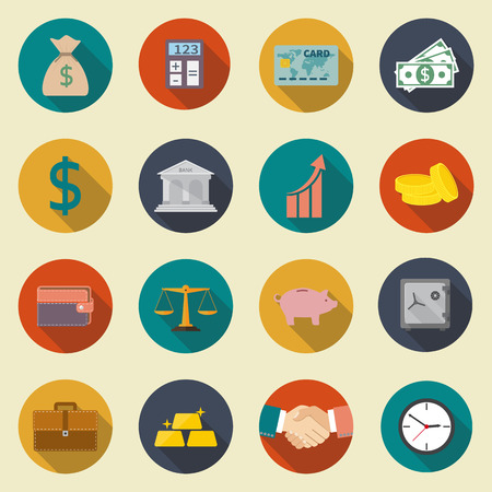 money management: banking, money, management, business, items financial service.  Modern icons set, isolation, in a flat style, with long shadow on white background. Vector illustration