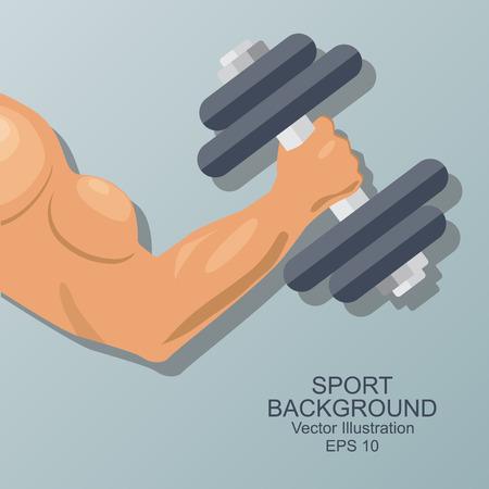levantar pesas: Mano de culturista. musculoso brazo con mancuerna aislado. estilo plano. Logo. emblema de los deportes, icono. Ilustración del vector.