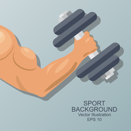Hand of bodybuilder. Brawny arm with dumbbell isolated. Flat style. Logo. Sports emblem, icon.  Vector  illustration. Illustration