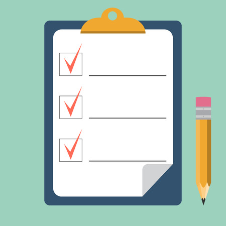 Clipboard with checklist and pencil. Quality Check. flat style. Vector illustration